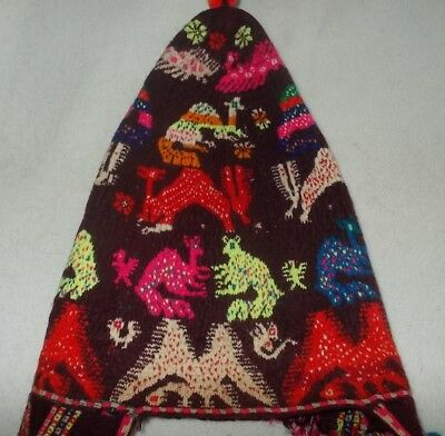 Antique Chinchero Style CHULLO EARFLAP HAT HANDMADE in PERU with animal motifs