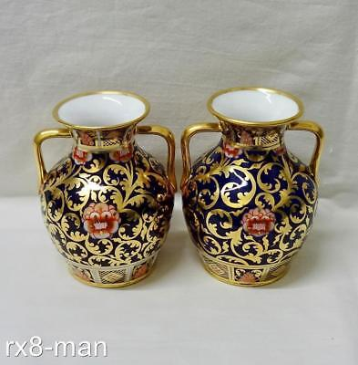 Antique Spode Copelands China Pair Of Imari Pattern Twin Handled Baluster Vases