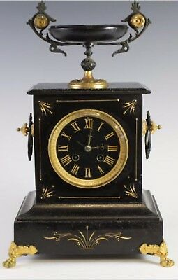 Large Antique French Japy Freres Polished Slate / Marble 8 Day Mantle Clock
