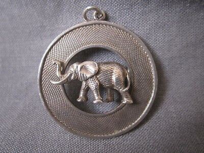 Vintage 1950 or 75 Payton Pepper Co Birmingham silver fob pendant elephant ring