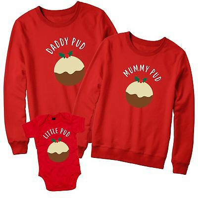 Family Christmas Jumper Set Sweater Mummy Daddy Little Pud New Cute Pudding L376