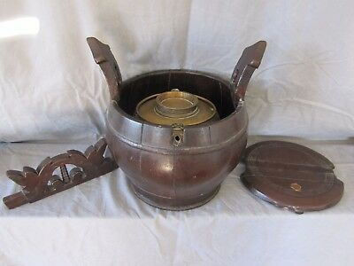 Antique very large chinese teapot caddy & large brass/copper teapot 19 century