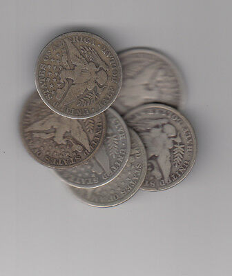 1900-1914 Usa Barber Halves Silver Coin Lot Of 6