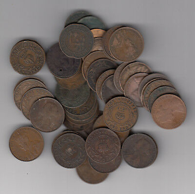 1861-1936 Canada Provinces Large Cents Lot Of 50