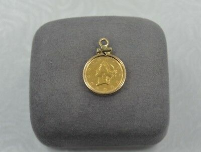 Vintage Collectible Liberty Head One Dollar Gold Coin in 10K Gold Bezel #M