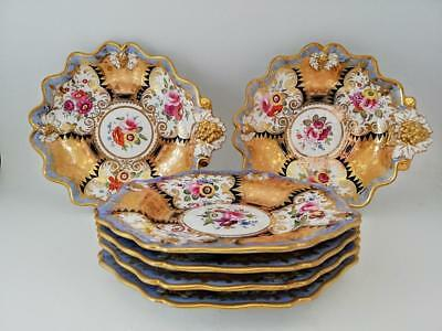 Antique Floral & Raised Gold Dessert Service Plates - Rockingham Coalport c1820