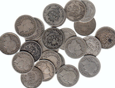 1892-1916 Usa Barbers Dimes Silver Coin Lot Of 25