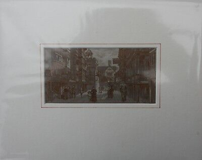 """WH Grant Silk Woven Picture """"Ye Olde London Street"""" London Exhibition 1885 Brown"""