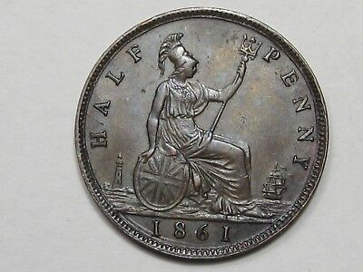 High-Grade (XF+/AU) 1861 Great Britain Half Penny.  #30