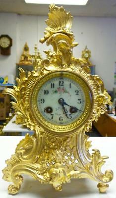 Stunning Antique 19thc French Japy Freres Gilt Ormolu Bronze Petite Mantle Clock