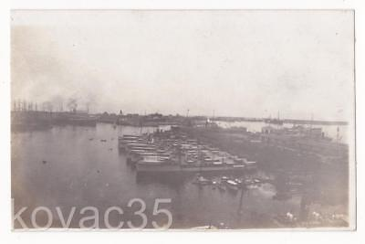 "SINGAPORE, c.1920's RP Real Photo - ""NAVAL DOCKYARD"" Gunboats & Sailing Ships"