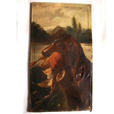 """Antique Old Victorian Late 19C Oil Painting """"Gun Dog"""" Sold for Restoration"""