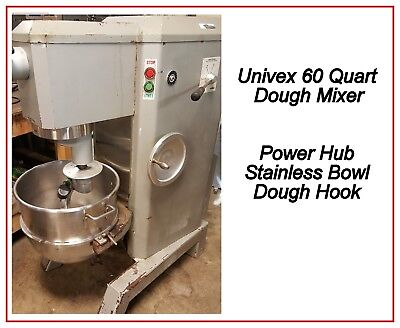 60 Qt Dough Mixer Power Hub Stainless Bowl 3 PHASE Univex M60 TESTED