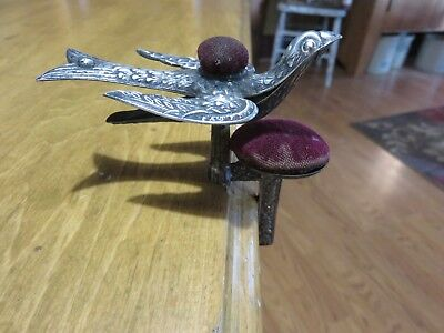 Victorian 19Th Century Silver Brass 2 Pin Cushion Sewing Bird Clamp Fabric Hold