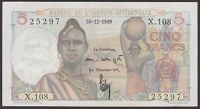 Choice UNC French West Africa P-36 / B120g  1949  5 Francs  NO RESERVE   25297