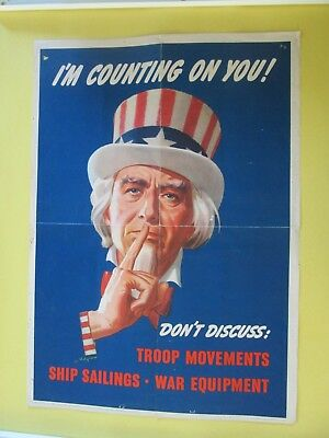 """I'M COUNTING ON YOU! ""    <> <> <> <>     Original World War II  POSTER  <> <>"