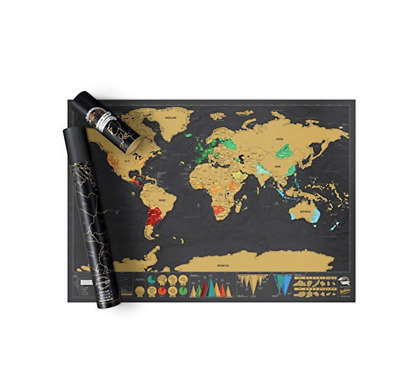 Scratch off Map World Poster Deluxe Edition – Personalized Scratchable Map of th