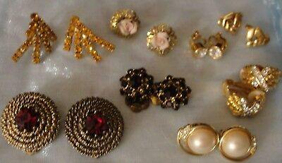 Vintage Lot Of 8 Pairs Of Clip On Earrings Pretty Rhinestones And Faux Pearls