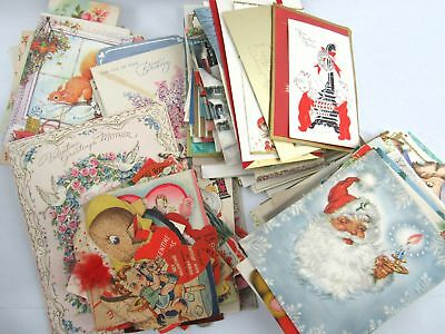Vintage Lot of Over 300 Greeting Cards 1940-1970: Lots of Christmas & Valentines