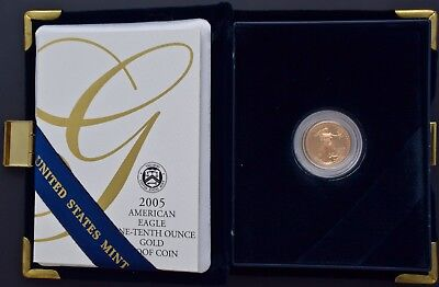 2005-W 1/10 oz Proof Gold American Eagle (w/Box & COA) FREE S/H Actual Pics