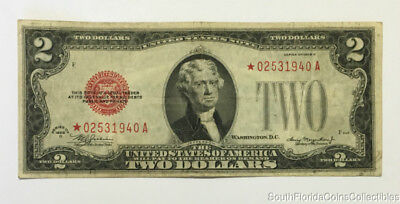 1928-B $2 Two Dollar Red Seal Star Note Bill Very Fine Plus Condition *02531940A