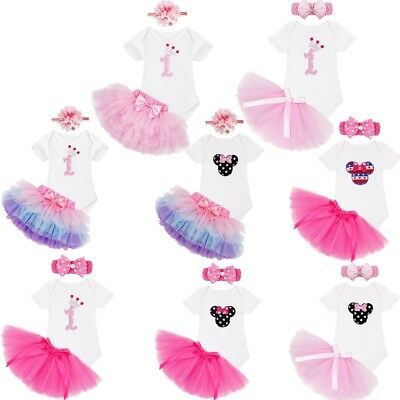 Baby Girls My 1st Birthday Outfit Party Dress Tutu Cake Smash Skirt Headband