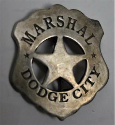 Old West Style Marshal Dodge City Badge, Shield with center Star