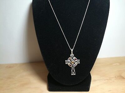 Vintage Sterling Silver Irish Cross With colorful Stones 18 in RA61