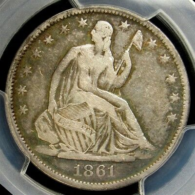 CSA Obverse 1861-O Seated Liberty Half Dollar - PCGS F15 -Confederate Silver 50c