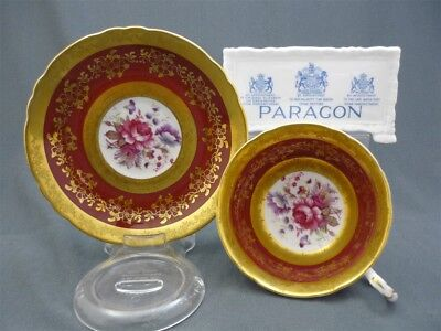 Wide Hand Painted Paragon England Red ROSE Gold Bone China Tea Cup & Saucer Duo