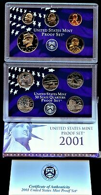 2001  S COMPLETE PROOF SET OF * 10 * COINS  US Mint Box w COA UNSEARCHED