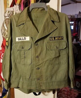 Rare Original US WWII Army 1st Pattern HBT Combat Jacket XLLG 44/21 named w rank