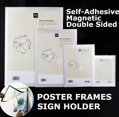 NEW A3 A4 Sign holder Windows Display Poster Door Double Sided Adhesive Magnetic