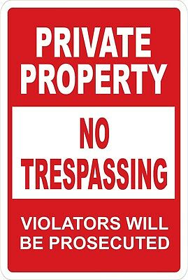 Private Property No Trespassing (RED) Aluminum Metal 8x12 Do Not Enter Stay Out