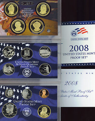 2008 S COMPLETE PROOF SET OF * 14 * COINS  US Mint Box w COA UNSEARCHED