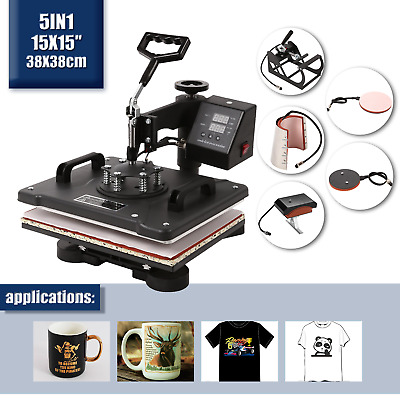5in1 Hitzepresse Heat Press 38x38cm Swing Away GroßFormat Transferpresse COOL