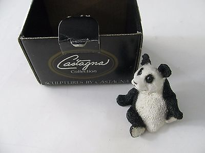 1992 Castagna Panda Bear Figure Sculpture With Box Made In Italy  #0398