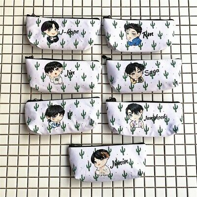 Kpop BTS Bangtan Boys Fabric  Pen Pencil Bag Case Makeup Bag School Stationery