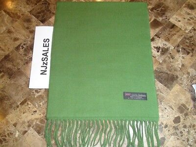 New 100% CASHMERE Soft Scarf Solid Olive Green Made in SCOTLAND Wool S71 Women