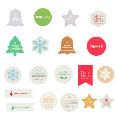 100 x Christmas Xmas Kraft Tags Gift Card DIY Party Hanging Paper Label Supplies