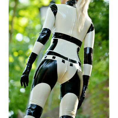 100% Latex Catsuit Rubber Black and White Handsome Racing Suits 0.4mm Size S-XXL