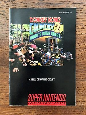 Donkey Kong Country 2 Diddy's Quest SNES Super Nintendo Instruction Manual Only