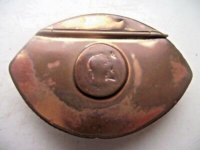 Antique Copper Hinge Lidded Snuff Box Tin Lined Eye Form With Georgian Coin