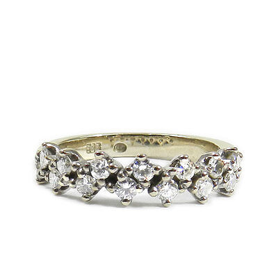 Memory Diamant Ring 585 Gold & 0.42 ct Brillanten Vintage Eternity Ring