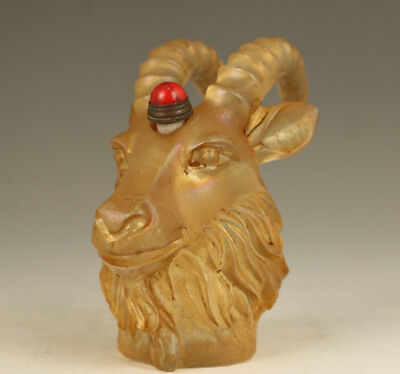 antique Chinese Old Glaze Handmade Carved Sheep Figure Statue Snuff Bottle gift