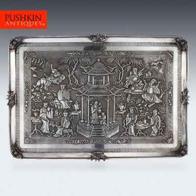 ANTIQUE 19thC CHINESE EXPORT SOLID SILVER WALL PLAQUE, WANG HING c.1870