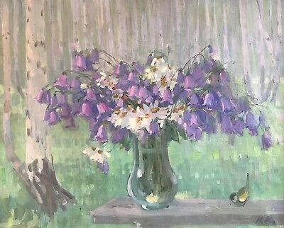 Signed Russian Impressionist Oil - Beautiful Flowers With Woodland Background