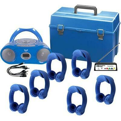 HamiltonBuhl 6 Person Wireless Listening Center, Blue, with BoomBox, HMC Case