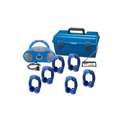 HamiltonBuhl 6 Person Wireless Listening Center, Blue, with BoomBox, LCP Case