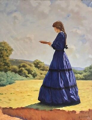Large Russian Impressionist Signed Oil - Young Lady Reading Book In Landscape